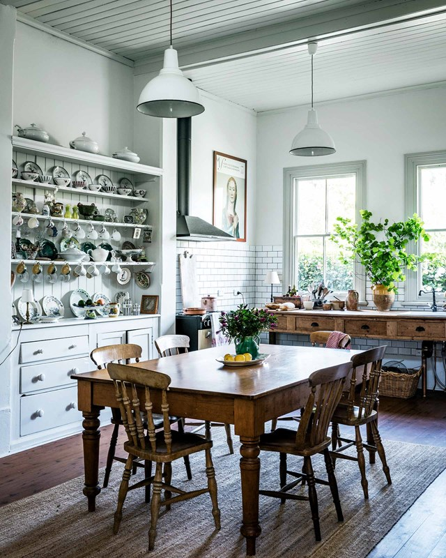 "The owners of this [heritage home in the Blue Mountains](https://www.homestolove.com.au/blue-mountains-antiques-heritage-house-19177|target=""_blank"") swapped an old Formica-topped bench for an antique table. They say, ""none of our pieces are worth a lot but they hold memories of our travels and the talent of friends and family."""