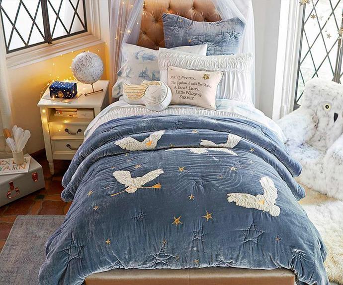 "HARRY POTTER™ Hedwig Comforter, $49.00 - $299.00, [Pottery Barn Kids](http://www.potterybarnkids.com.au/|target=""_blank""|rel=""nofollow"").  *Images © ™ Warner Bros Entertainment Inc.*"