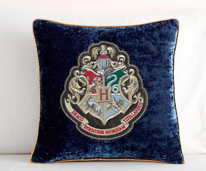 "Harry Potter™ Hogwarts™ Crest Cushion, $49.00, [Pottery Barn Kids](http://www.potterybarnkids.com.au/|target=""_blank""|rel=""nofollow"").  *Images © ™ Warner Bros Entertainment Inc.*"