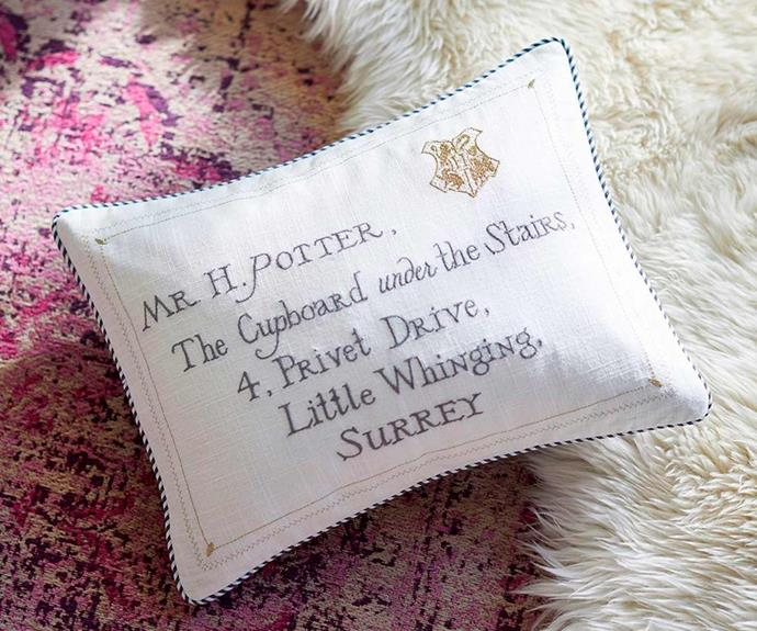 """Harry Potter™ Letter Cushion Cover, $19.00 - $49.00, [Pottery Barn Kids](http://www.potterybarnkids.com.au/
