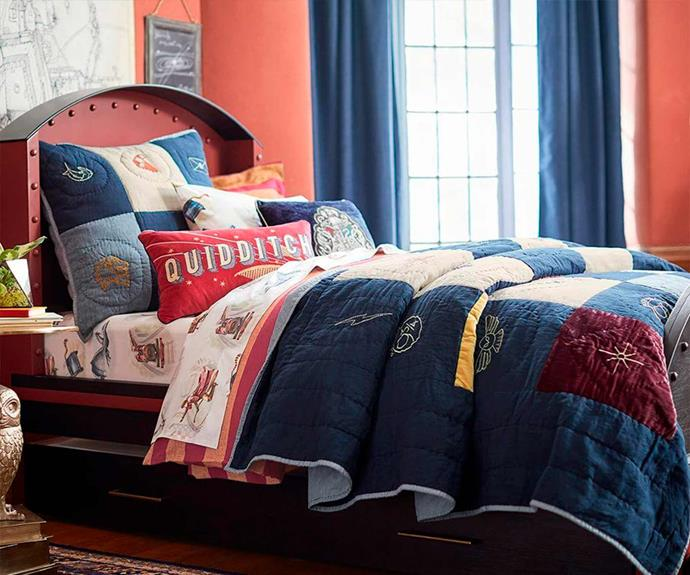 "Harry Potter™ Patchwork Comforter, $49.00 - $299.00, [Pottery Barn Kids](http://www.potterybarnkids.com.au/|target=""_blank""|rel=""nofollow"").  *Images © ™ Warner Bros Entertainment Inc.*"