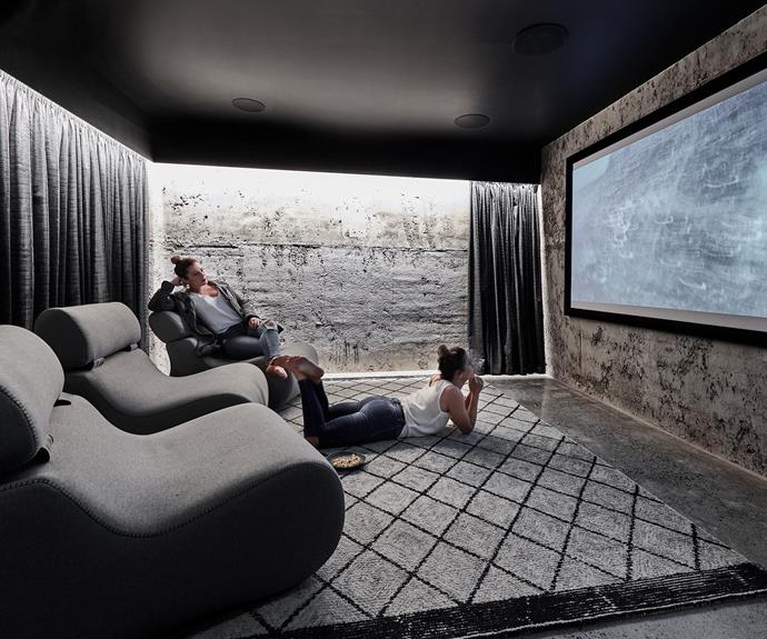 """**Cinema room** Downstairs, Alisa and Lysandra lounge in a cosy [indoor cinema space](http://www.homestolove.com.au/how-to-create-an-indoor-cinema-10328