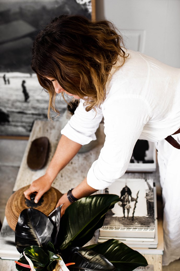 """Kara took pride in being very hands-on during the transformation of her Brisbane studio, selecting materials and furniture in her favoured raw style. """"I love natural elements,"""" she says. """"You can never go wrong with combining different textures."""""""