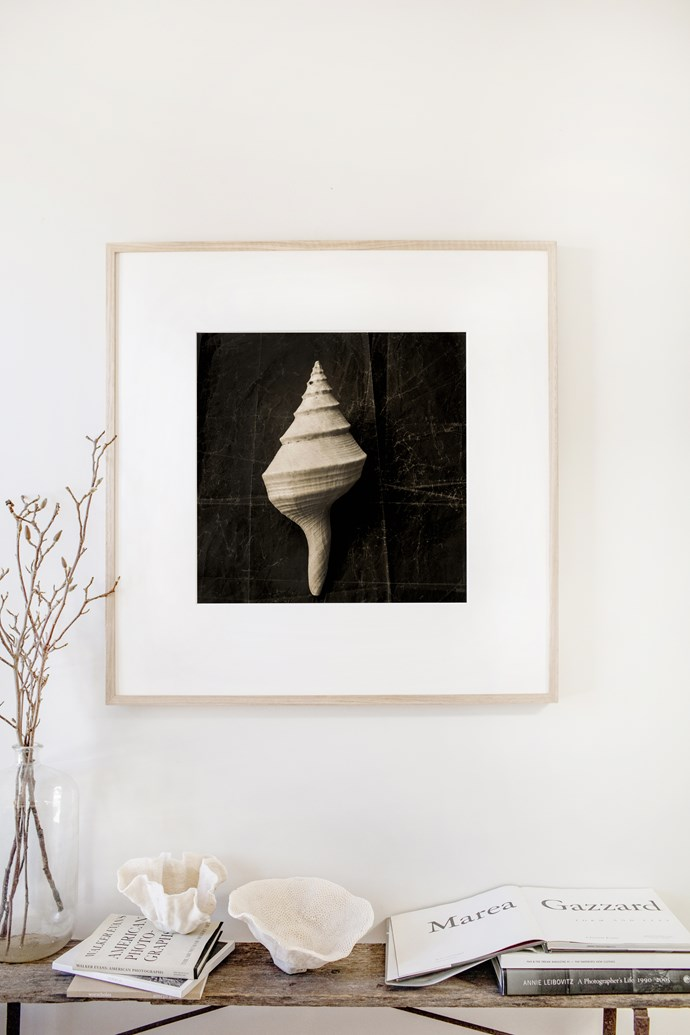 """""""I wanted to have something special on the wall near where I sit,"""" Kara says of this limited-edition print, titled Seashell Still Life. """"It makes me feel happy and calm when I glance at it throughout the day."""""""