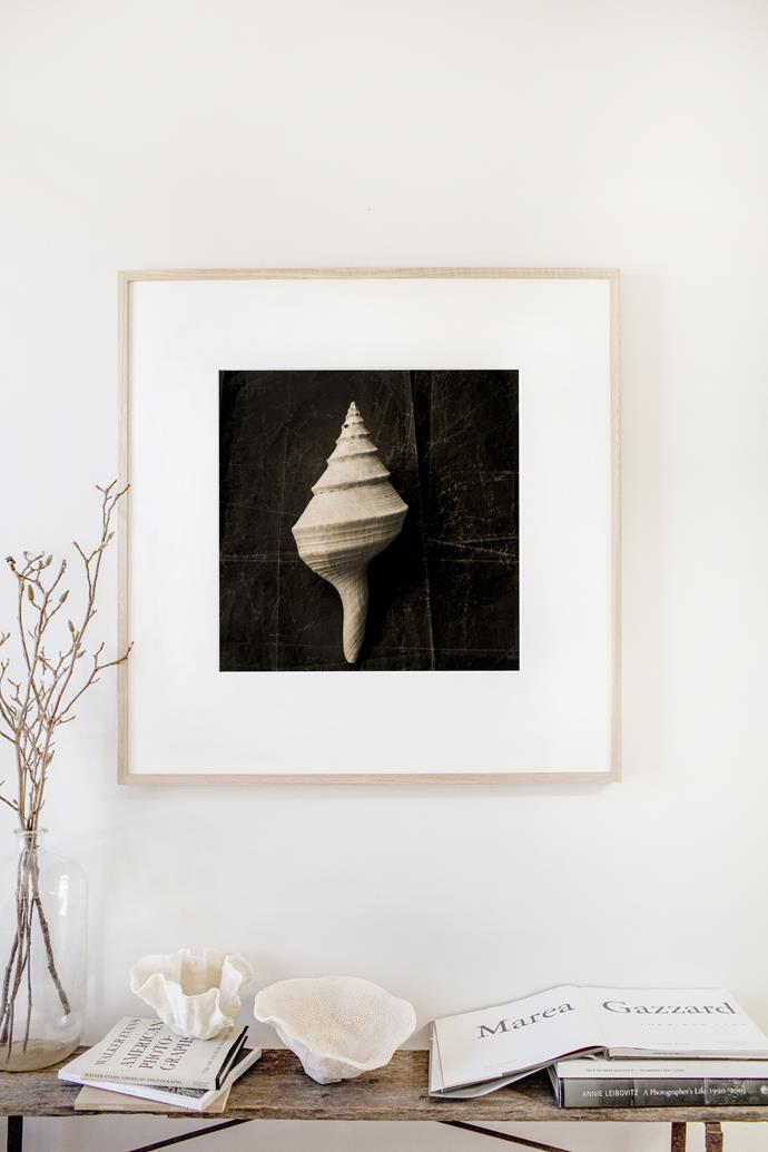 """I wanted to have something special on the wall near where I sit,"" Kara says of this limited-edition print, titled Seashell Still Life. ""It makes me feel happy and calm when I glance at it throughout the day."""