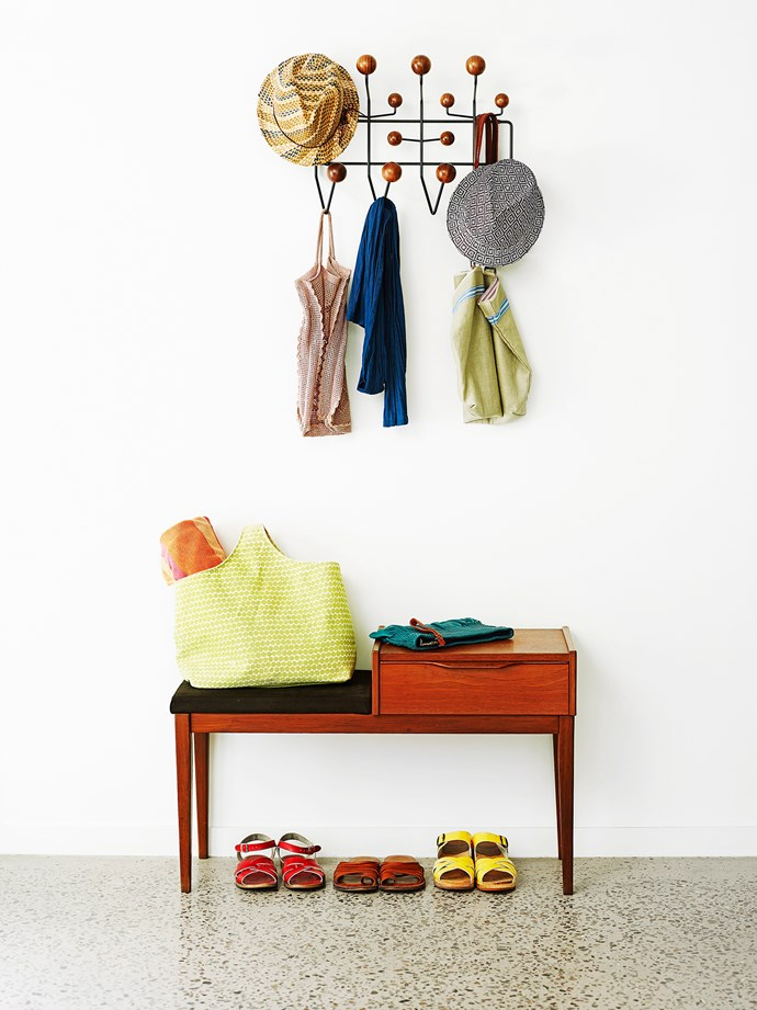 Storage space at the entrance to your home is always a great idea. Having a dedicated place to hang bags, hats and kick off shoes will help to reduce chaos and clutter. *Photo: Tony Scott / bauersyndication.com.au*