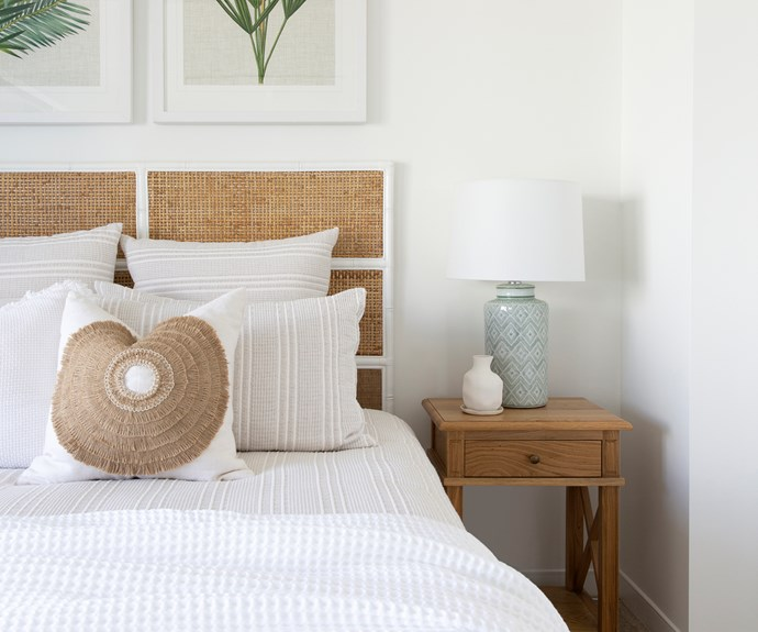 "The rattan bedhead is mounted on a bamboo frame. The 'African Shield' embroidered cushion is from [Bandhini Design House](https://www.bandhinidesign.com/|target=""_blank""