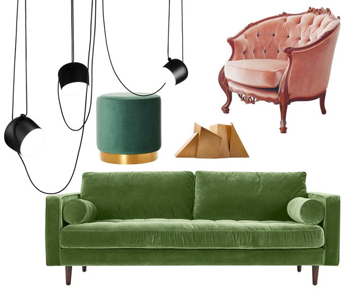 """**Vintage style** Add old-world charm with an eclectic mix of lush furnishings in contrasting colours teamed with sculptural accessories. **Get the look** (clockwise left to right) Flos 'Aim' suspension light, $949 or $2847/set of 3, [Living Edge](https://livingedge.com.au/