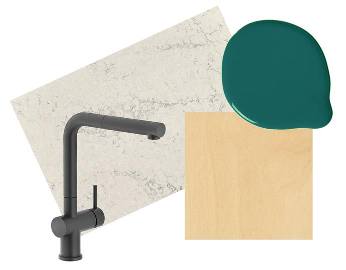 """**Key design details** Natural earthy tones in benchtops and cabinetry are a great match for a largely rich-green scheme. **The tap** Franke 'Active Plus TA7611MB' pull-out tap, $825, [Winning Appliances](https://www.winningappliances.com.au/