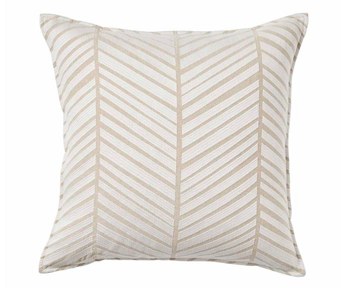 "'Malaga' cushion in Sandstorm, $89.95, [Weave](http://weavehome.com.au/|target=""_blank""|rel=""nofollow"")."