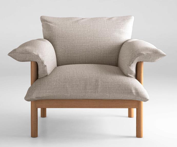 "'Wilfred' armchair, $4711.85, [Jardan](https://www.jardan.com.au/|target=""_blank""|rel=""nofollow"")."