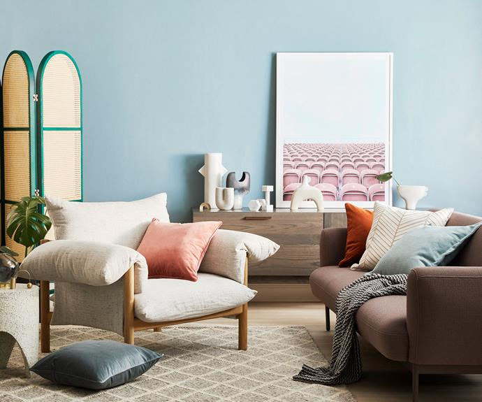 **Mix it up** Vibrant popts of colour pop against muted neutral tones.