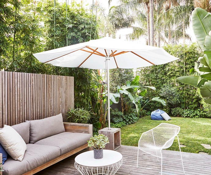 """**Deck** The perfect lounging space has been created on the deck that gives ample space for both relaxing and playing. 'Nomah' Lounge, 'Heaven' Armchair, 'Ayr' umbrella stand, 'byron' beanbag & scatter cushions, [Eco Outdoor](https://www.ecooutdoor.com.au/