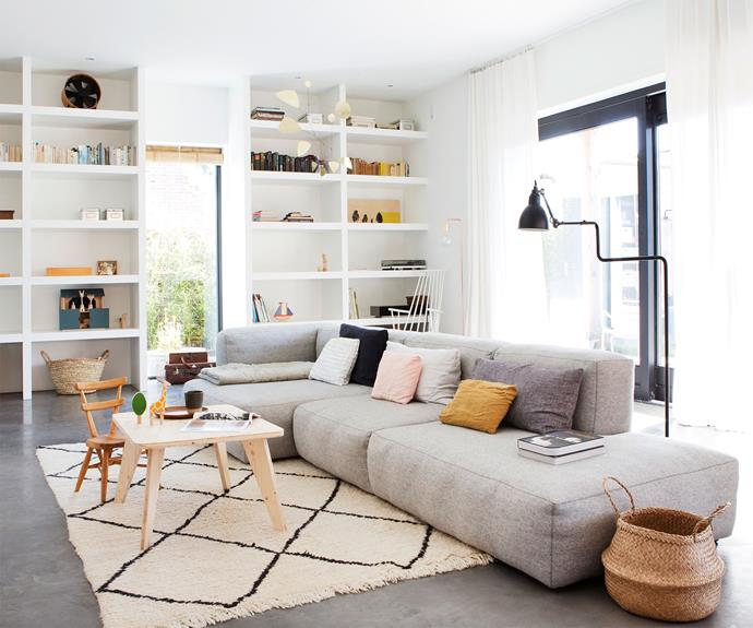 "Tessa has created a comfortable lounge room with a Mags soft sofa by Hay (available in Australia at [Cult Design](https://cultdesign.com.au/|target=""_blank""