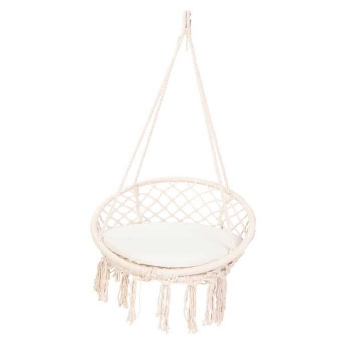 "Macrame Outdoor Hanging Chair, $93.95, [Zanui](https://fave.co/2OCKGvi|target=""_blank"")"