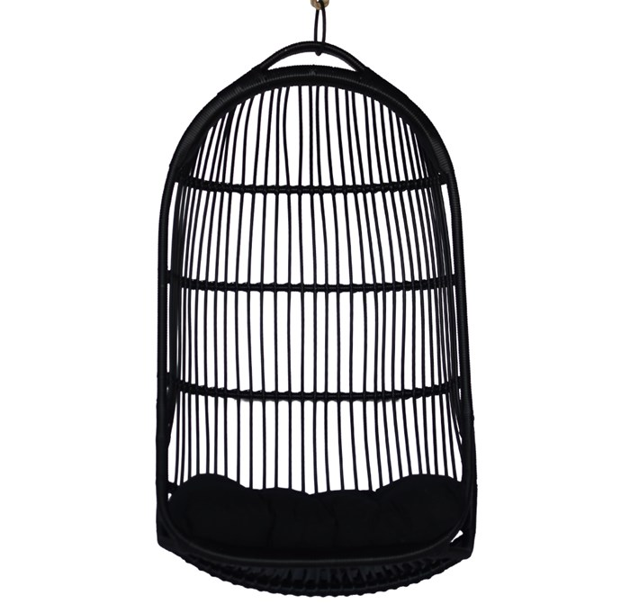 "Sunday Hanging Chair in Black, $510, [CLO Studios](https://clostudios.com.au/products/sunday-hanging-chair-outdoor-1|target=""_blank""