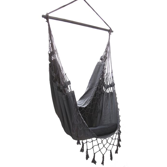 """French Provincial Hanging Hammock Chair in Charcoal, $99, [Temple & Webster](https://www.templeandwebster.com.au/French-Provincial-Hanging-Hammock-Chair-IVD224-IVOR1085.html