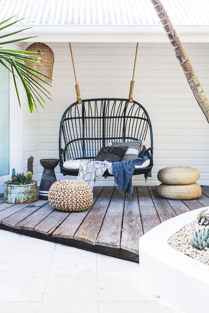 "'Lucy' Love Seat in Black, $775, [Byron Bay Hanging Chairs](https://www.byronbayhangingchairs.com.au/|target=""_blank""