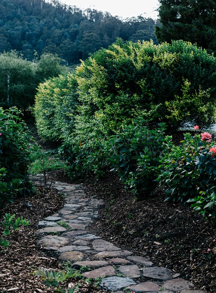 A curved stone path runs through the garden. Since moving into their century-old weatherboard cottage in 2014, the couple have slowly added to plantings at Crabtree Heights. | *Photography: Marnie Hawson*