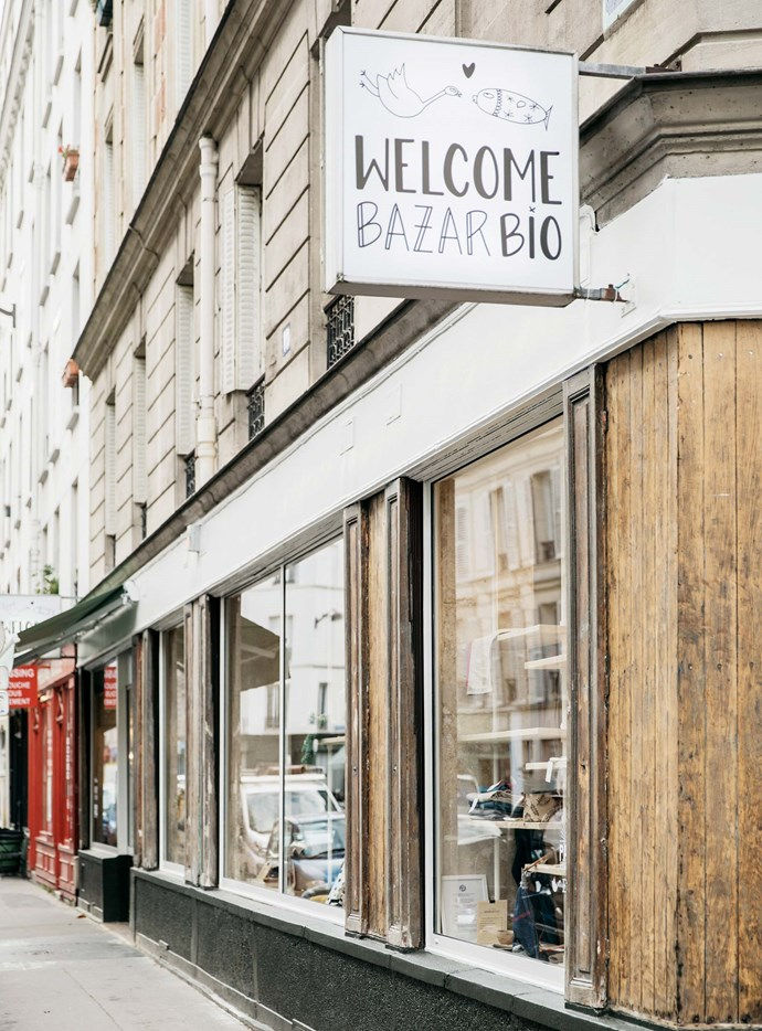 The shopfront of Welcome Bio Bazar in Paris.