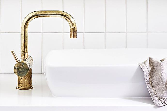 "Sussex Taps 'Scala' basin mixer in Living Tumbled Brass, POA, [Reece](https://www.reece.com.au/|target=""_blank""