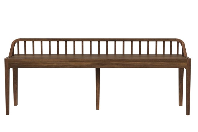 "**Dual-purpose** Doubling as both display surface and seating, this bench is the perfect spot for lacing up hiking boots. Ethnicraft 'Walnut Spindle' bench, $1035, [The Banyan Tree](https://www.banyantree.com/en|target=""_blank""