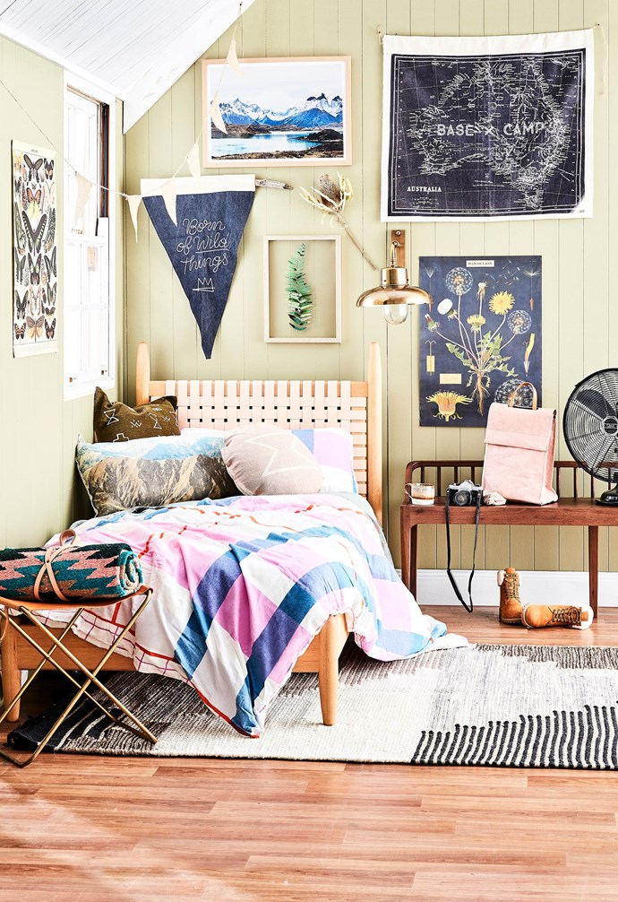 **Into the wilderness** Calling all happy campers! Create a room to inspire your daughter's next outdoor adventure. *Styling by Jono Fleming with assistance by Nonci Nyoni | Photography: Will Horner*.