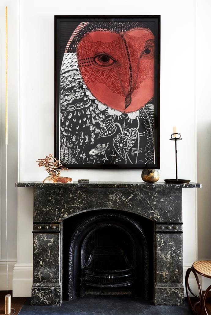 Joshua Yeldham Love Owl above original black marble fireplace.