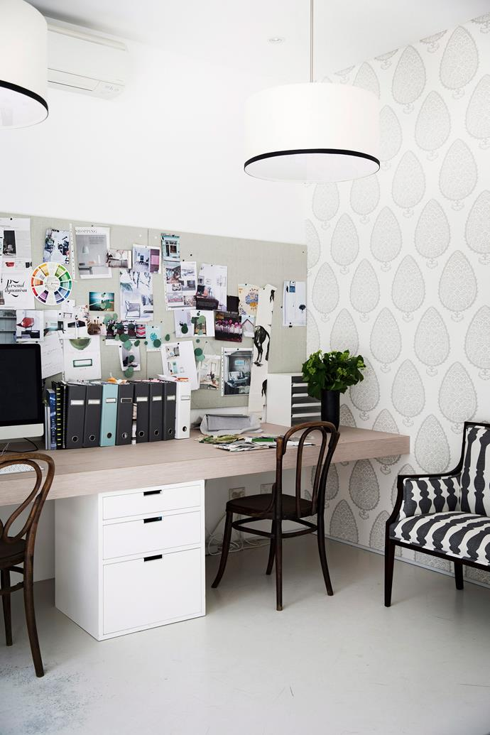 If your home office is a hub for the entire family, a wall-mounted bench desk running along the length of the room can accommodate multiple users at once. *Photo: Chris Warnes / bauersyndication.com.au*