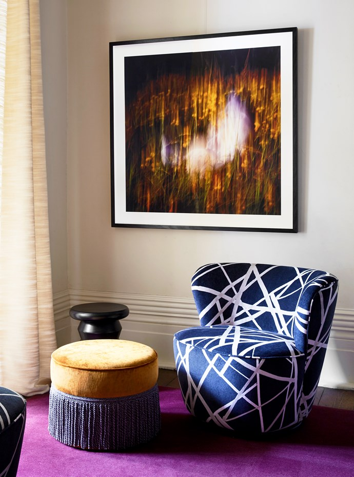 """An oversized ultraviolet rug instantly lifts this corner of the formal dining room created by Moss. The artwork is by [Bridget Meldrum](https://www.instagram.com/images_by_bridget/