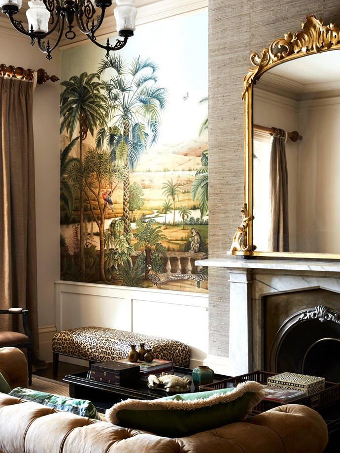 """A feature wall of [trendy botanical wallpaper](https://www.homestolove.com.au/botanical-wallpaper-trend-19192