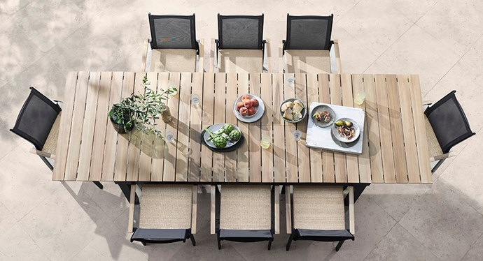 "[Archer 9-piece outdoor dining setting with extension table](https://www.domayne.com.au/promos/summer-alfresco?utm_source=Banner&utm_medium=Bauer&utm_campaign=summer_alfresco|target=""_blank""