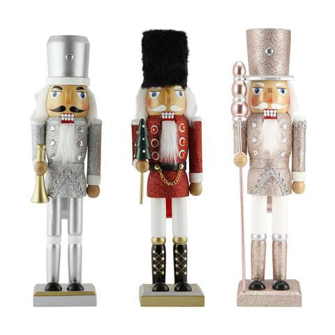 Nutcracker Christmas decorations always have a 'luxury-department store window' feel about them, so we are naturally on board.  <br><br> Nutcracker Christmas tabletop decorations, $10 each
