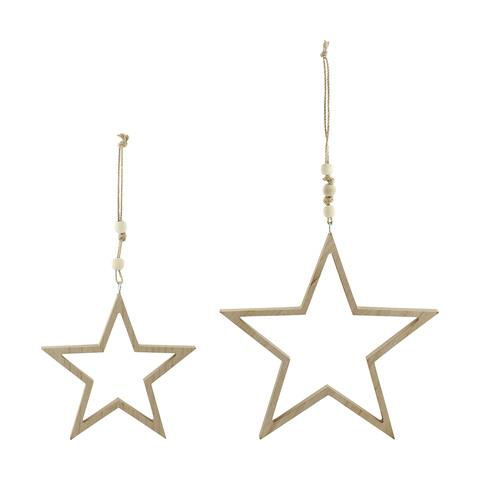 Ditch the gold glitter for the Scandinavian-inspired wooden stars. <br><br> 2 Wooden Hanging Stars, $7