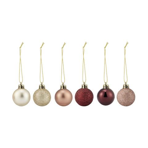 These stylish rose gold baubles will look as good on your tree as they will in a clear bowl on your dining table.  <br><br> 36 Baubles in Rose Gold & Berry, $5