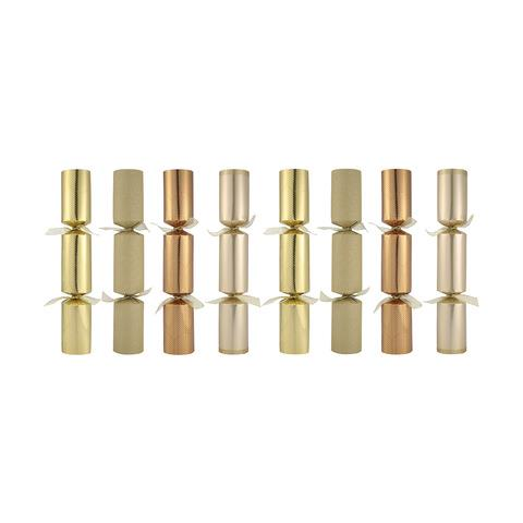These metallic Christmas crackers will give any holiday tablescape a contemporary face lift.  <br><br> Gold Premium Crackers, Set of 8, $10