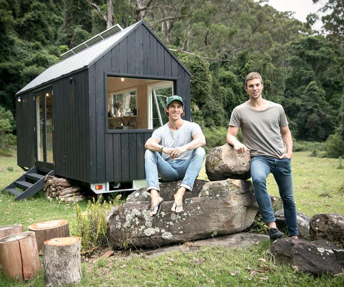 Cam and Chris in front of cabin 'Miguel'.
