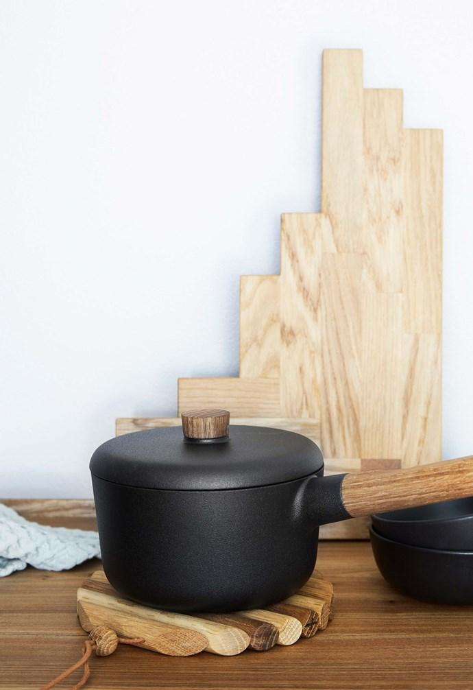 "**Details** Black accessories including Eva Solo pots are a class act. Eva Solo 'Nordic Kitchen' saucepan, $199, [Until](http://www.until.com.au/|target=""_blank""|rel=""nofollow"")."