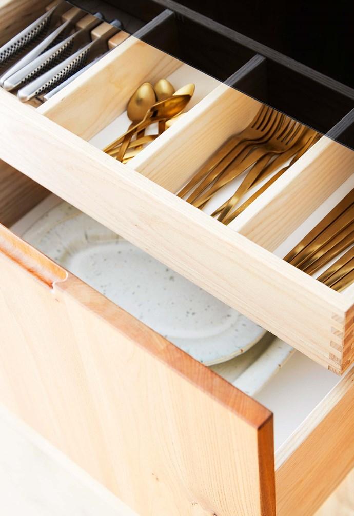 **Details** A shallow cutlery drawer keeps the Søstrene Grene flatware organised,