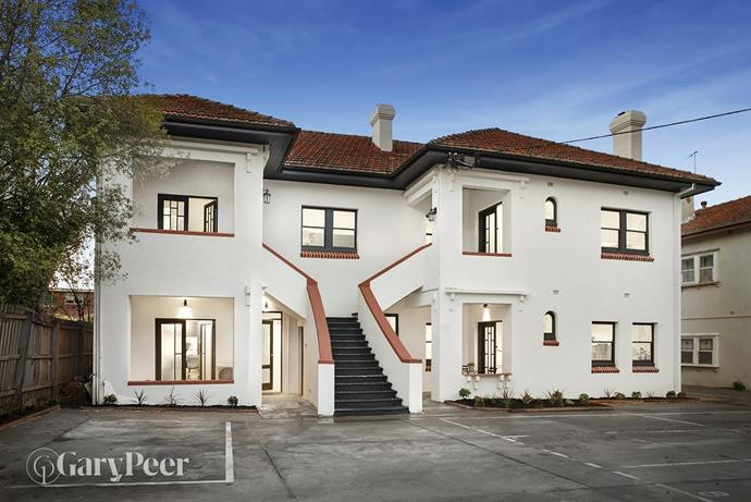 A recently renovated apartment is currently for sale in this Art Deco building in the suburb of Elwood which is just a stone's throw from St Kilda. *Image courtesy of Gary Peer via Domain.*