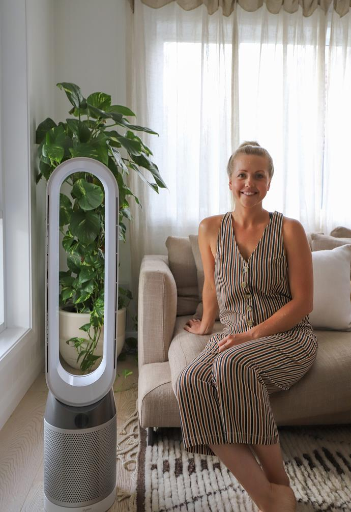 """**Breathe in** Kara uses her [Dyson PureCool purifying fan](https://www.dyson.com.au/