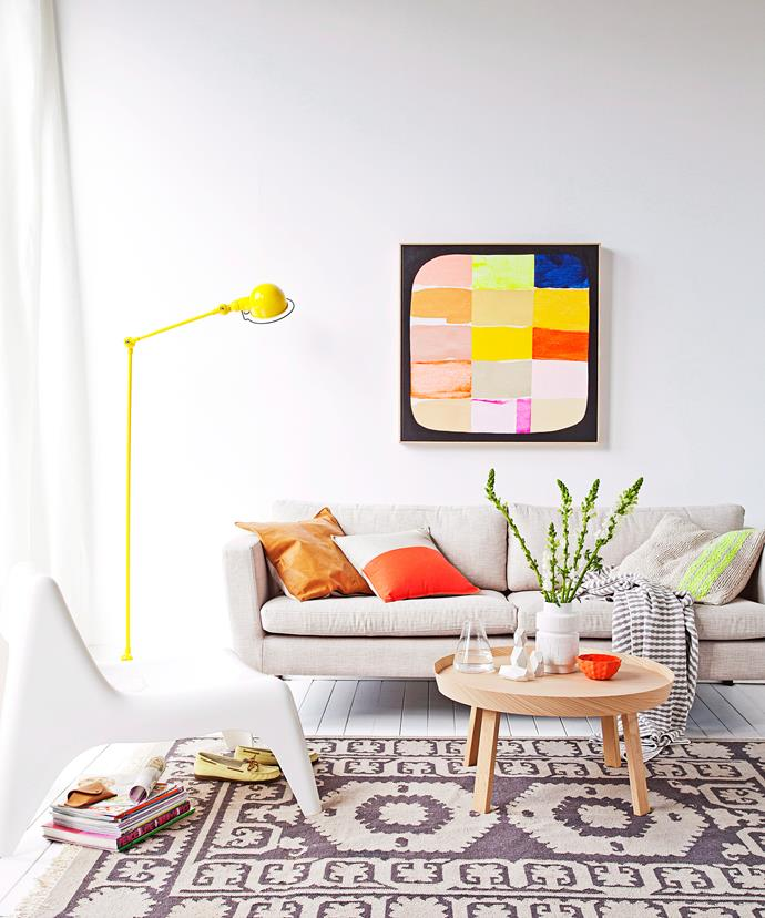 A neutral base is often the best starting point for creating a colourful home without the commitment and permanence of paint. *Photo: Felix Forest / bauersyndication.com.au*