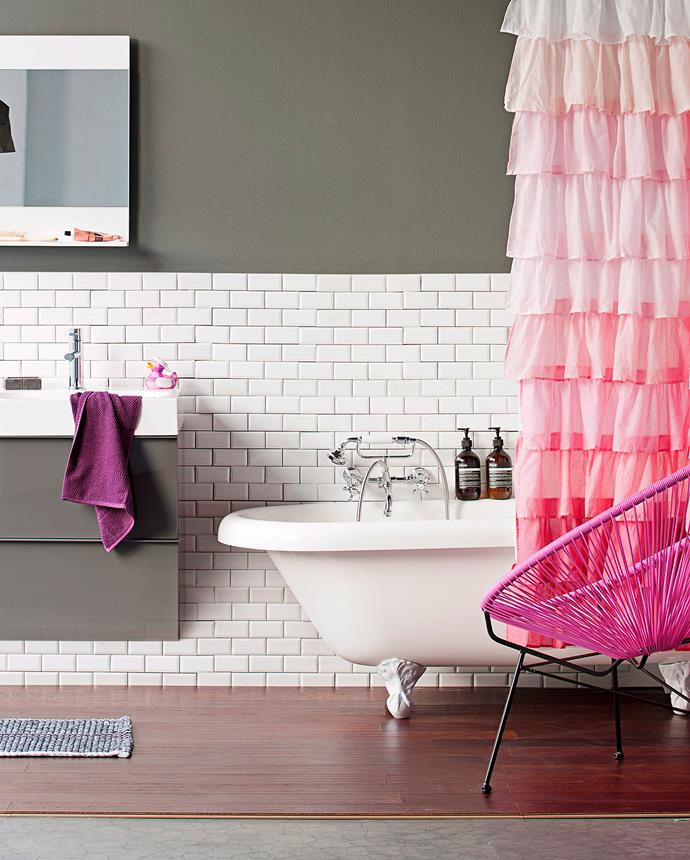 A gorgeous shower curtain will cover a multitude of sins, even the most boring or dated rental unit. *Photo: Maree Homer / bauersyndication.com.au*