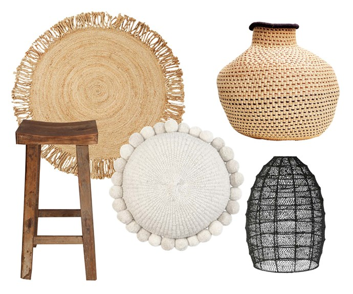 "**Dream weaver** Add texture and warmth to all-white interiors with woven baskets, rugs and cushions in neutral tones. **Get the look** (clockwise left to right) 'Savannah' rug, $169.95,  [Marr-Kett](https://marr-kett.com.au/|target=""_blank""