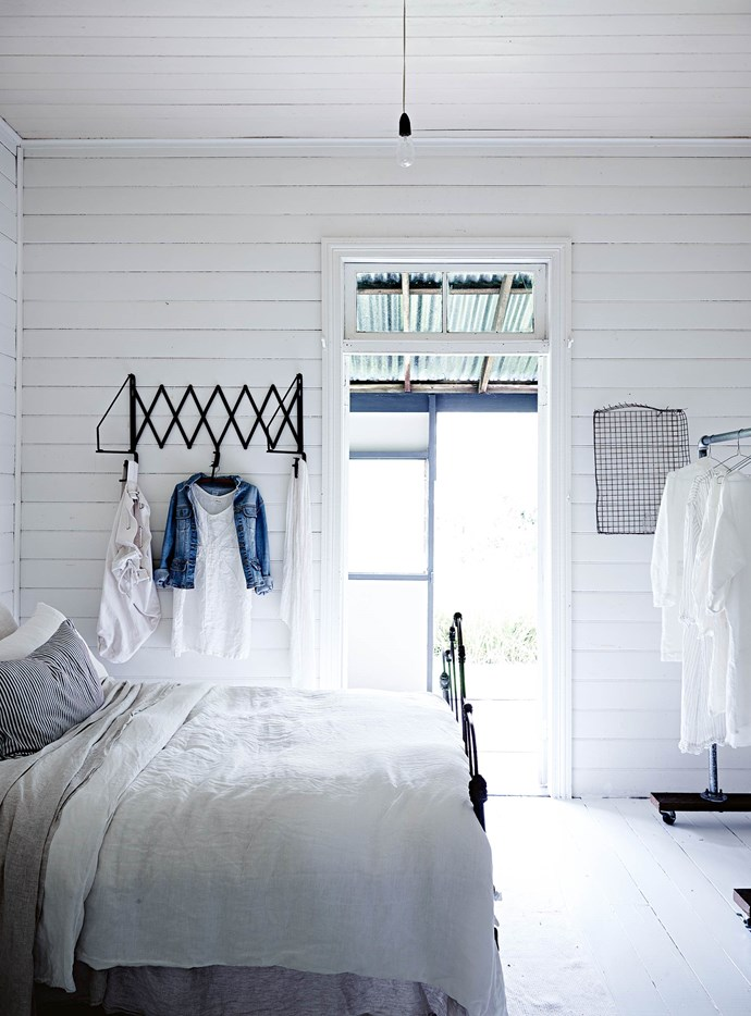 White on white on white makes for a calming, tranquil bedroom. Michelle finds that when she tries to add a pop of colour through soft furnishings or clothing, it never lasts long — it ends up at the local charity store soon after. | Photo: Mark Roper