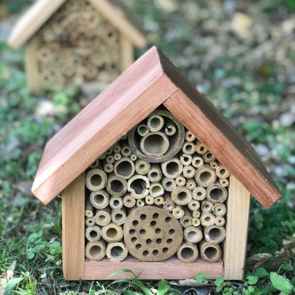 """Reused timber and weed bamboo **bee house**, $65, from [Biome](https://fave.co/2OdxbNJ