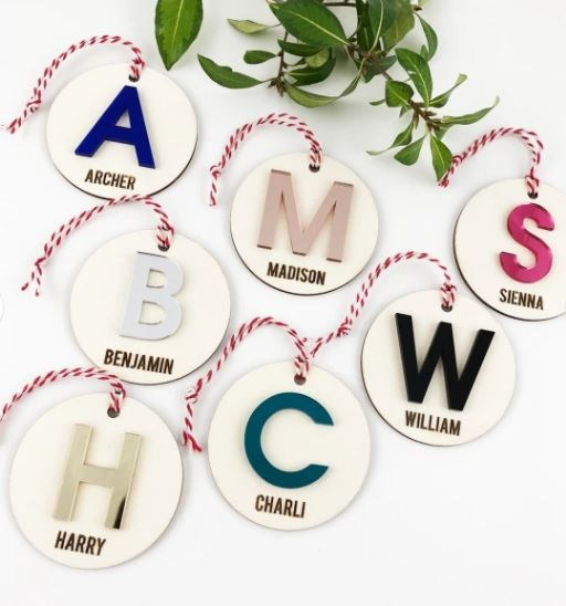 """Personalised initial acrylic name ornament, $33 each, [Hard To Find](https://www.hardtofind.com.au/173507_personalised-initial-acrylic-name-ornament