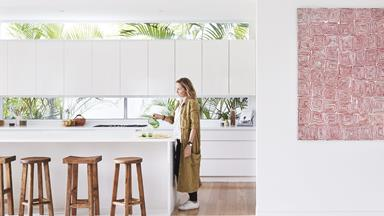 Step inside this relaxed all-white Byron Bay home with upcycled details