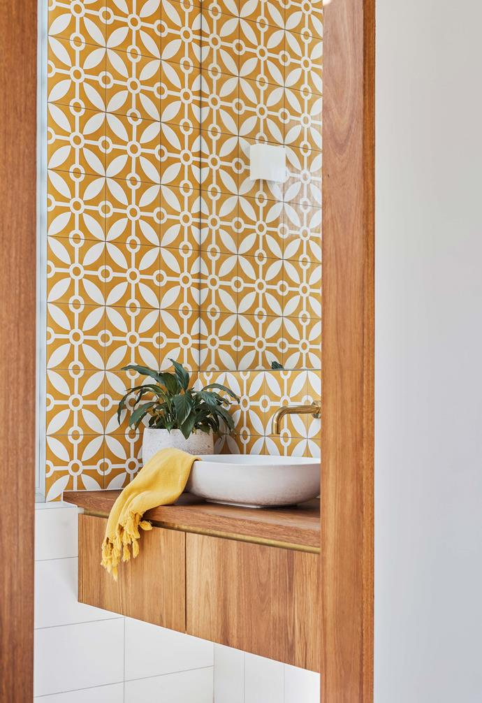 **Bathroom** Shelley fell in love with the yellow 'Rayos Del Sol' tiles from Jatana Interiors, so much so that she designed the bathroom around them.
