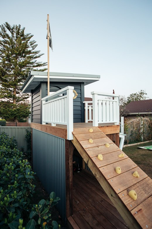 """Kyal and Kara built their two kids a [nautical-inspired, two-storey cubby](https://www.homestolove.com.au/kyal-and-kara-cubby-house-19280